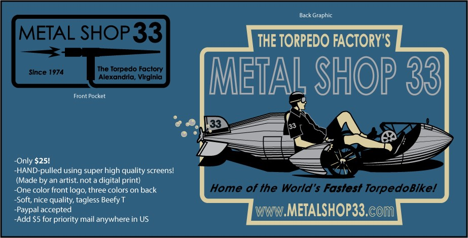 TorpedoBike shirts only $25 at MetalShop33!